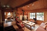 Living area in Laatokka log cabin near the New Forest